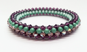 Crystal and Pearl Bangle Jewellery Making Kit with SWAROVSKI® ELEMENTS beads Purple and Jade tones